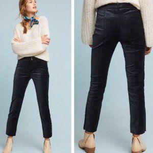 Anthropologie Black Velvet Essential Cropped Pants